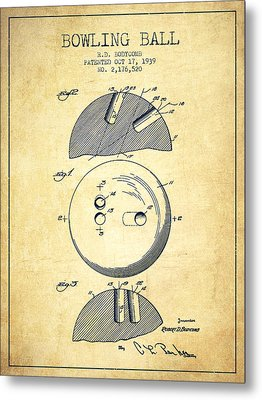 1939 Bowling Ball Patent - Vintage Metal Print by Aged Pixel