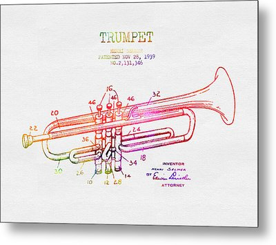 1939 Trumpet Patent - Color Metal Print by Aged Pixel
