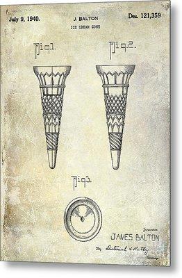 1940 Ice Cream Cone Patent Metal Print