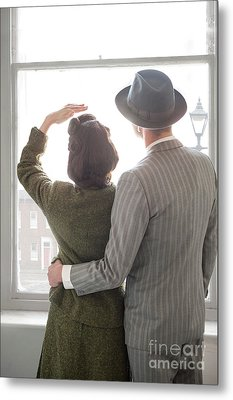 1940s Couple At The Window Metal Print
