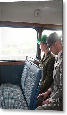 1940s Couple Sitting On A Vintage Bus Metal Print