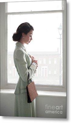 1940s Woman At The Window Metal Print