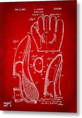 1941 Baseball Glove Patent - Red Metal Print by Nikki Marie Smith