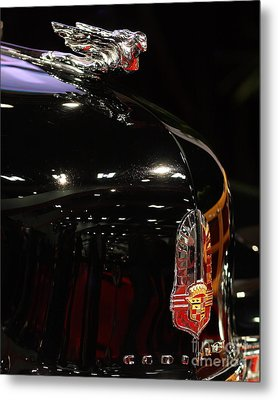 1941 Cadillac Series 62 Convertible Coupe . Hood Ornament And Badge Metal Print by Wingsdomain Art and Photography