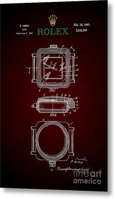 1941 Rolex Watch Patent 4 Metal Print by Nishanth Gopinathan