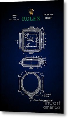 1941 Rolex Watch Patent 5 Metal Print by Nishanth Gopinathan