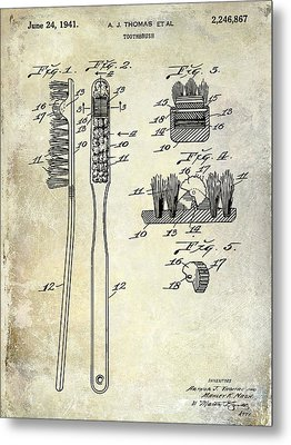 1941 Toothbrush Patent  Metal Print by Jon Neidert