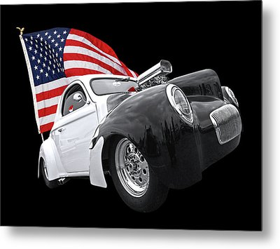 1941 Willys Coupe With Us Flag Metal Print by Gill Billington