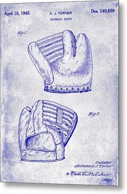 1945 Baseball Glove Patent Blueprint Metal Print