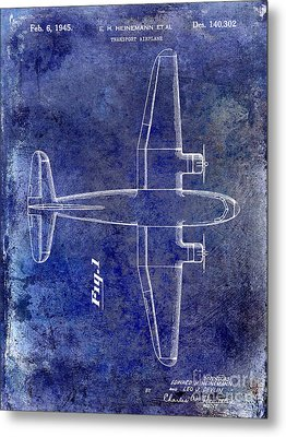 1945 Transport Airplane Patent Blue Metal Print by Jon Neidert
