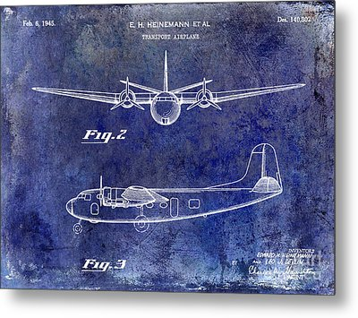 1946 Airplane Patent Blue Metal Print by Jon Neidert
