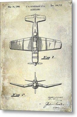 1946 Airplane Patent Metal Print by Jon Neidert