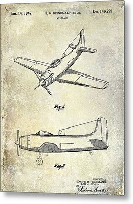 1947 Airplane Patent Metal Print by Jon Neidert