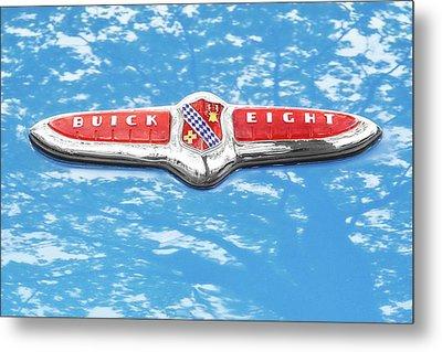 1947 Buick Eight Hood Emblem Metal Print by Jim Hughes