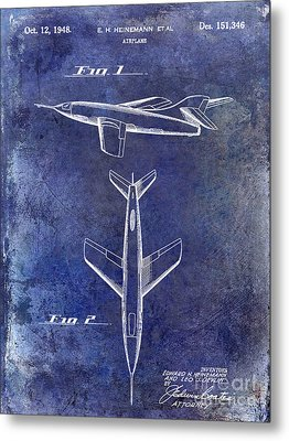 1947 Jet Airplane Patent Blue Metal Print by Jon Neidert