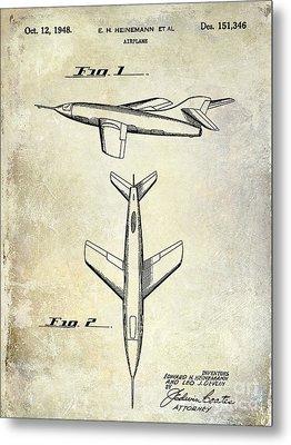 1947 Jet Airplane Patent Metal Print by Jon Neidert