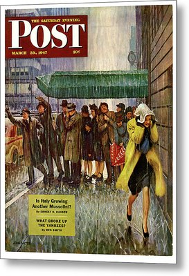 1947 Saturday Evening Post Magazine Cover Metal Print