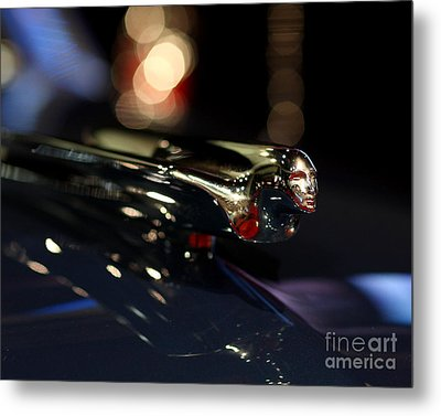 1948 Cadillac Coupe Hood Ornament Metal Print by Wingsdomain Art and Photography