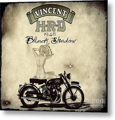 1948 Vincent Black Shadow Metal Print by Cinema Photography