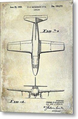 1949 Airplane Patent Drawing Metal Print by Jon Neidert