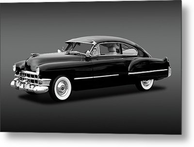 Metal Print featuring the photograph 1949 Cadillac Two Door Sedan  -  49cadillacsedanbw172173 by Frank J Benz
