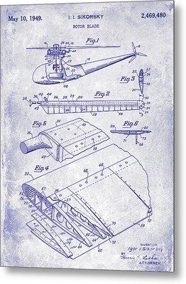 1949 Helicopter Patent Blueprint Metal Print by Jon Neidert