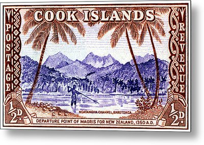 Metal Print featuring the painting 1949 Native Fishing, Cook Islands by Historic Image