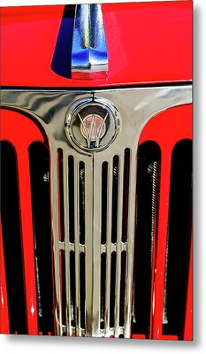 1949 Willys Jeepster Hood Ornament And Grille Metal Print by Jill Reger