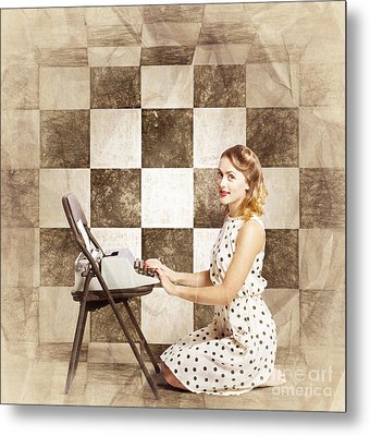1950s Fictional Pinup Writer Metal Print by Jorgo Photography - Wall Art Gallery