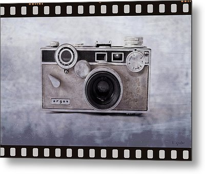 1950's Vintage Argus Camera With Filmstrip Border Metal Print by Tony Grider