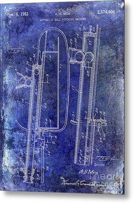 1951 Baseball Pitching Machine Patent Blue Metal Print