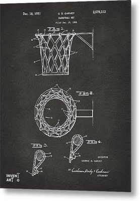1951 Basketball Net Patent Artwork - Gray Metal Print by Nikki Marie Smith