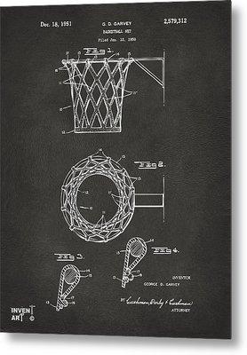 1951 Basketball Net Patent Artwork - Gray Metal Print
