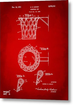 1951 Basketball Net Patent Artwork - Red Metal Print by Nikki Marie Smith