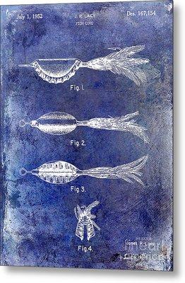 1952 Fishing Lure Patent Blue Metal Print by Jon Neidert