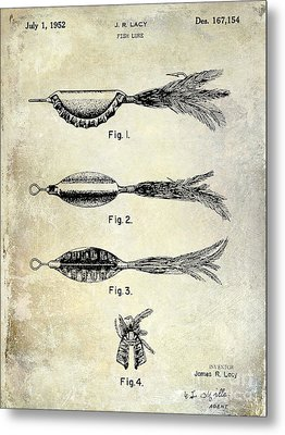 1952 Fishing Lure Patent  Metal Print by Jon Neidert