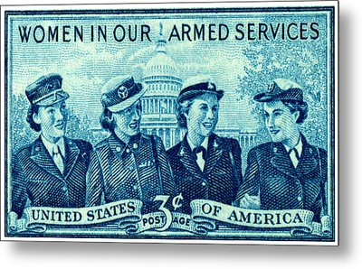 1952 Women In Military Service Stamp Metal Print by Historic Image