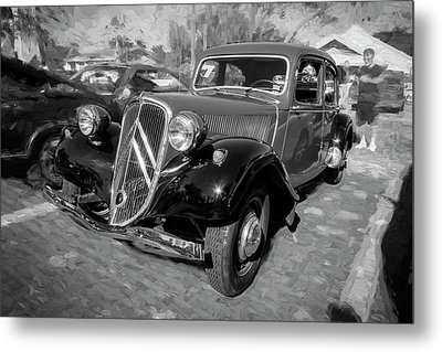 Metal Print featuring the photograph 1953 Citroen Traction Avant Bw by Rich Franco