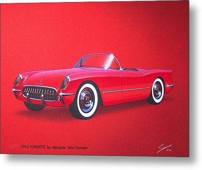 1953 Corvette Classic Vintage Sports Car Automotive Art Metal Print by John Samsen