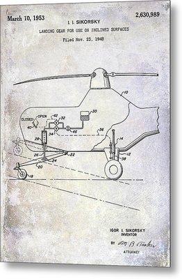 1953 Helicopter Patent Metal Print by Jon Neidert
