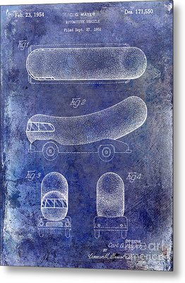 1954 Weiner Mobile Patent Blue Metal Print