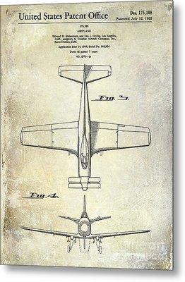 1955  Airplane Patent Drawing 2 Metal Print by Jon Neidert