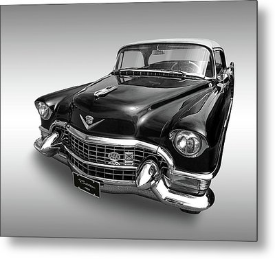 Metal Print featuring the photograph 1955 Cadillac Black And White by Gill Billington