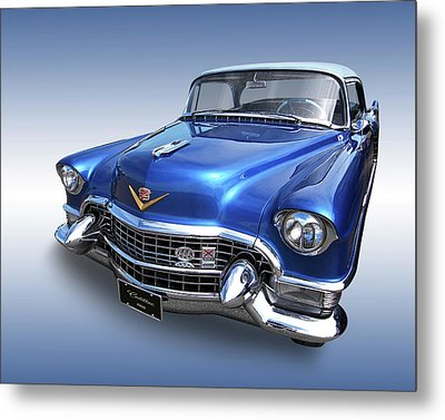 Metal Print featuring the photograph 1955 Cadillac Blue by Gill Billington