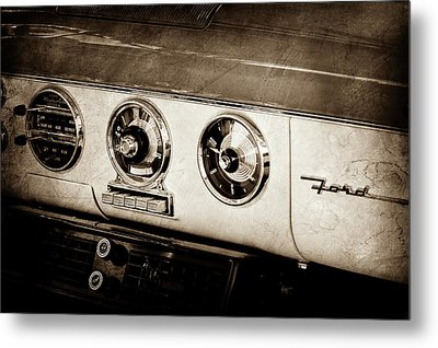 Metal Print featuring the photograph 1955 Ford Fairlane Dashboard Emblem -0444s by Jill Reger