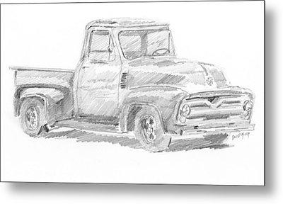 1955 Ford Pickup Sketch Metal Print
