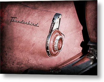 Metal Print featuring the photograph 1956 Ford Thunderbird Convertible Taillight Emblem -0361ac by Jill Reger