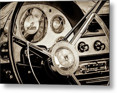 Metal Print featuring the photograph 1956 Ford Victoria Steering Wheel -0461s by Jill Reger