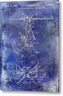 1956 Helicopter Patent Blue Metal Print by Jon Neidert