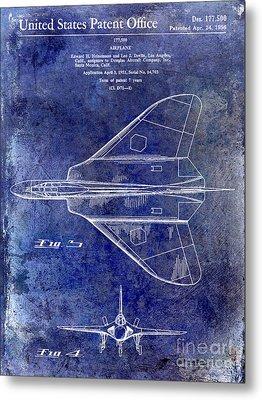 1956 Jet Airplane Patent Blue Metal Print by Jon Neidert